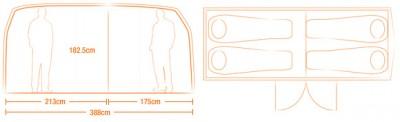 tente vw  combi split dimensions